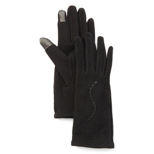 Black Curvy Leather-Blend Touchscreen Gloves